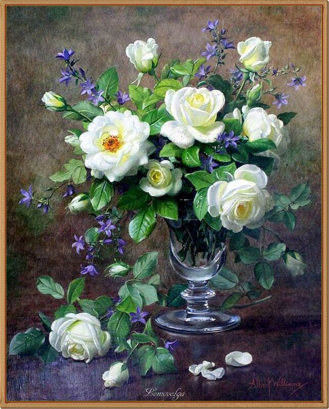 Albert Williams (1922-2010) White roses and campanula in a glass vase oil on canvas,.jpg