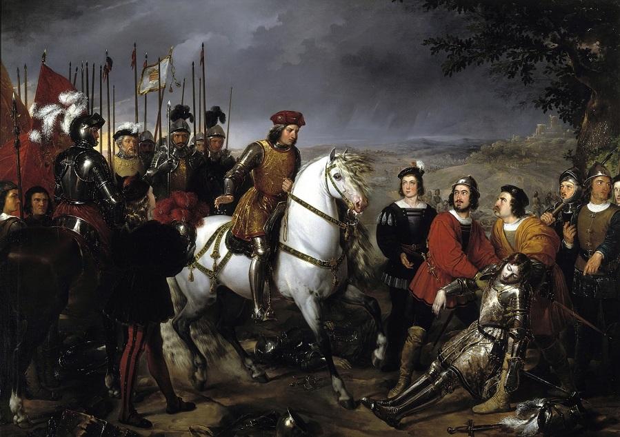 1835_Большой капитан (Гонсало Фернандес) после битвы при Чериньоле находит труп Луиса де Арманьяка_187 х 134_х.,м._Мадрид, музей Прадо.jpg