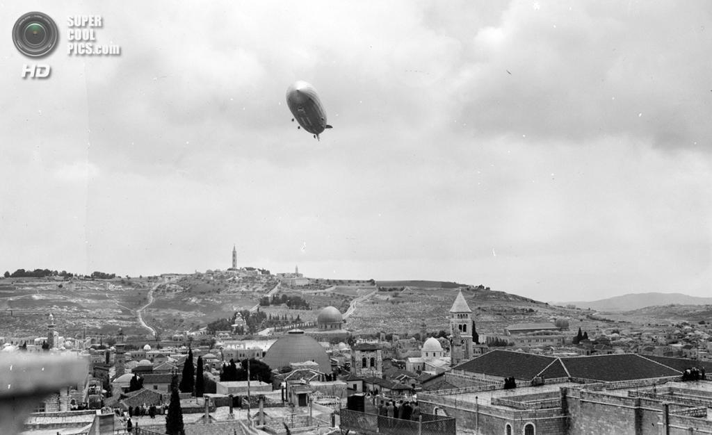 Палестина. Иерусалим. 26 апреля 1931 года. «Граф Цеппелин» над Старым городом. (Library of Congr