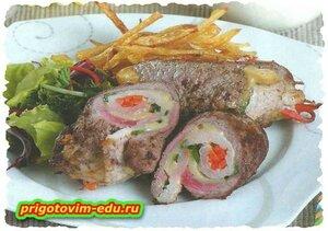 Рецепт Рулетики из свинины с корейской морковью