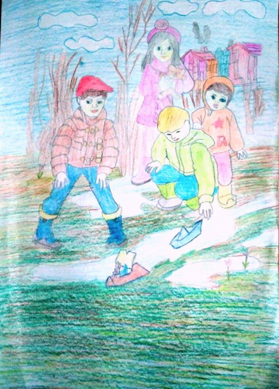 Кораблики - Тиунова Полина, 11 лет, Тема -- Рисунок, г. Мариинск.jpg