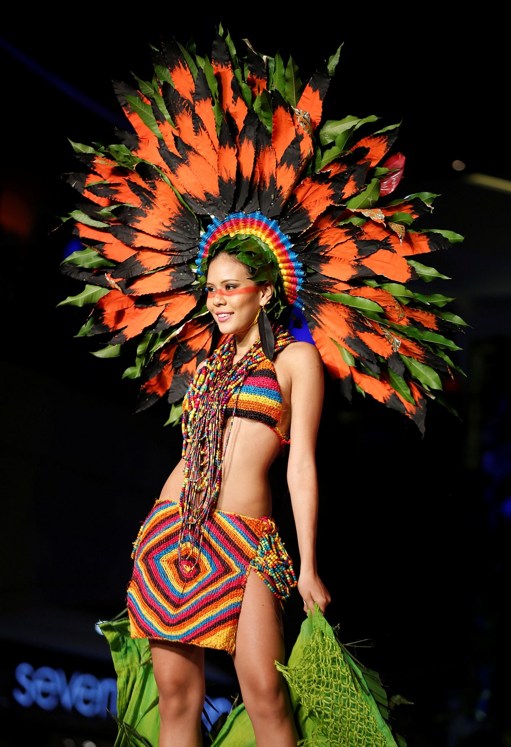 A model presents a creation during the Biofashion show in Cali