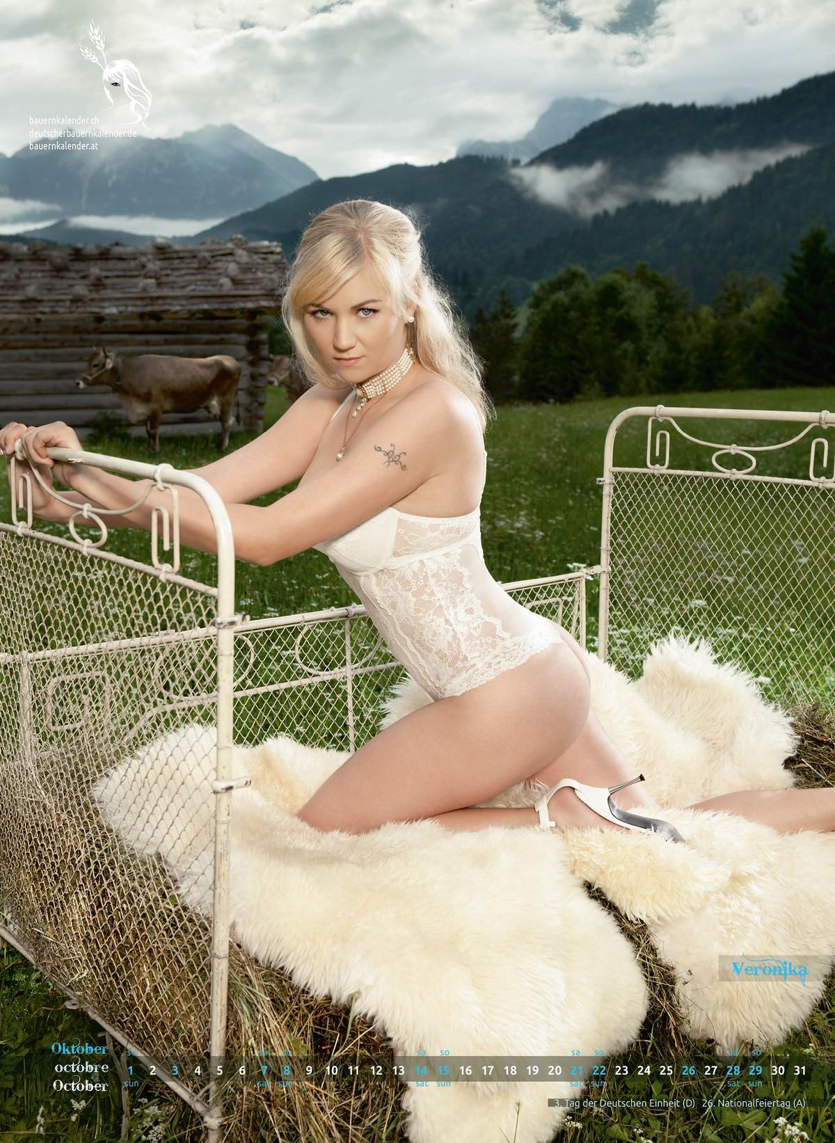 Швейцарские и немецкие фермерши в горячем календаре