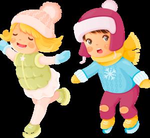 детишки зимой