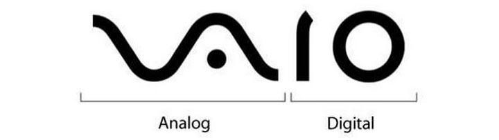 Логотип представляет собой соединение аналогового (слева) и цифрового (справа) компонента.