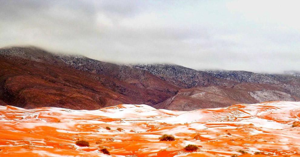 7. По словам фотографа, сделавшего снимки на севере пустыни, «снег пролежал около дня, а потом
