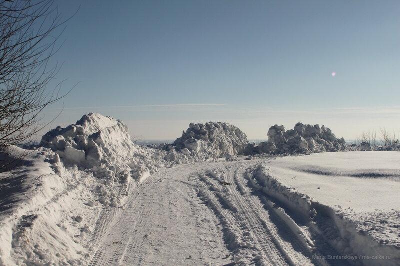 Снежные кучи парка Победы, Саратов, 06 февраля 2017 года