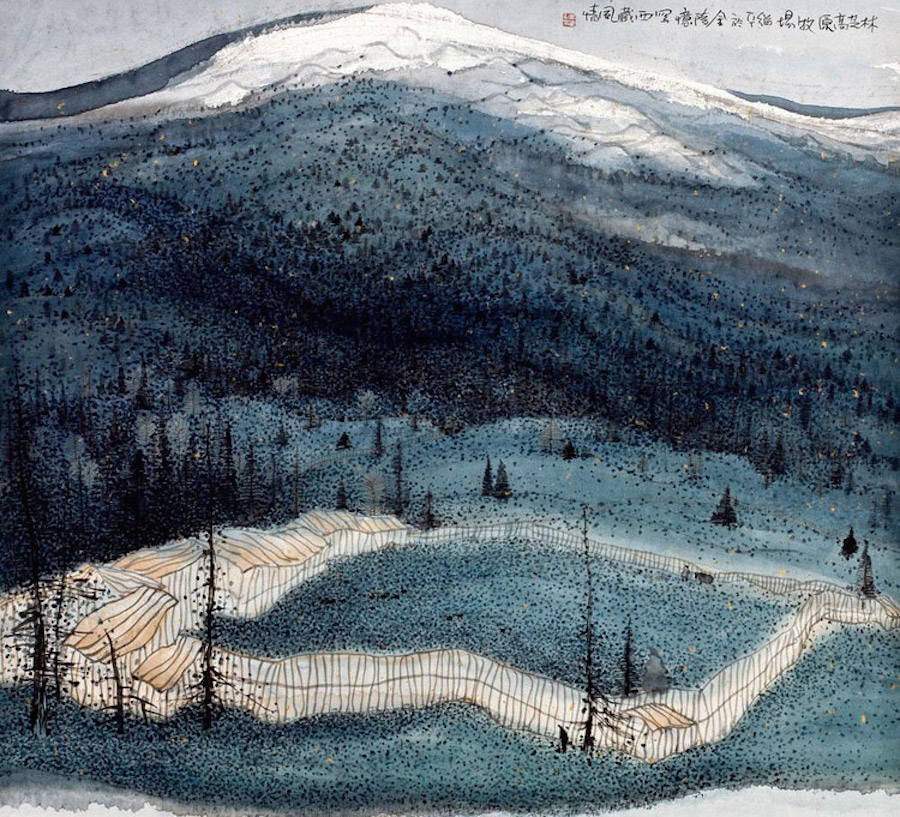 Landscapes Paintings Made With Lines and Dots