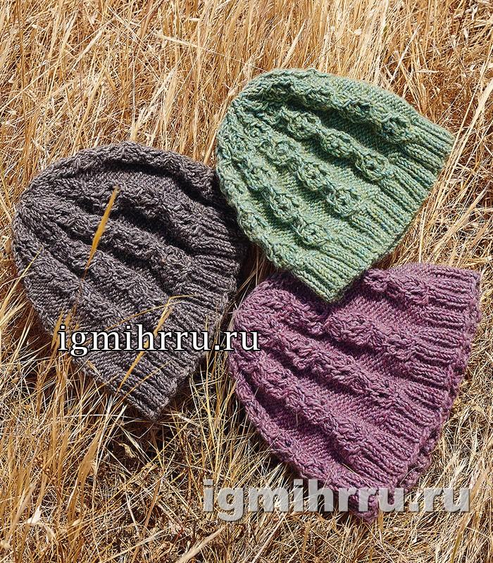 Теплая шапочка с ажурным узором из кос. Вязание спицами