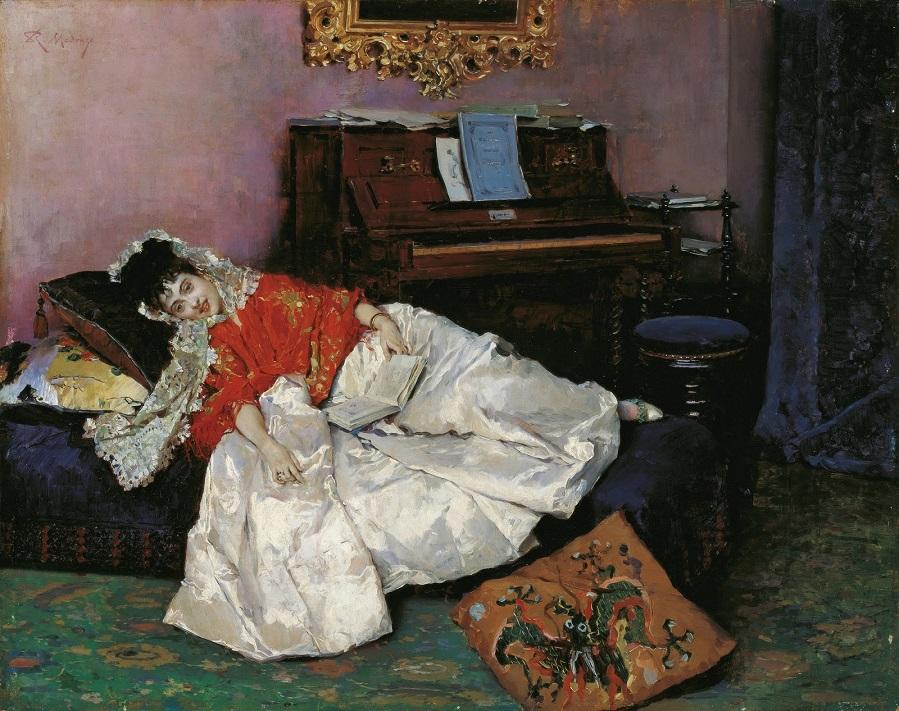1880-1885_Чтение, модель Алина Масон (La Lectura, Aline Mason)_45 х 56_картон, масло_Малага, музей баронессы Кармен Тиссен.jpg