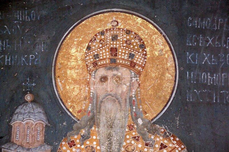 Святой Краль Стефан Урош II Милутин. Фреска монастыря Грачаница, Косово, Сербия. Около 1320 года. Фрагмент.