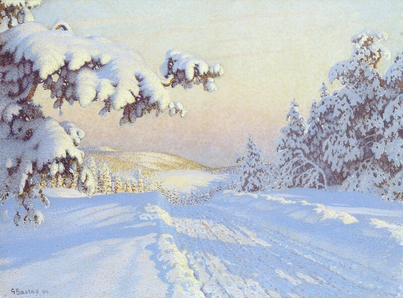 Gustaf Fjaestad. Заснеженный путь. 1896.jpg