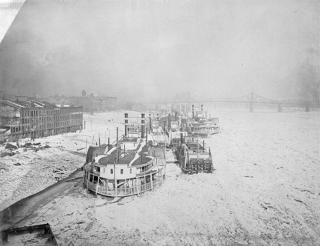 Boats in ice - Bonanza (1885-1909), front left, Hercules Correl, front right, Liberty, middle left, City of Cincinnati, far right back