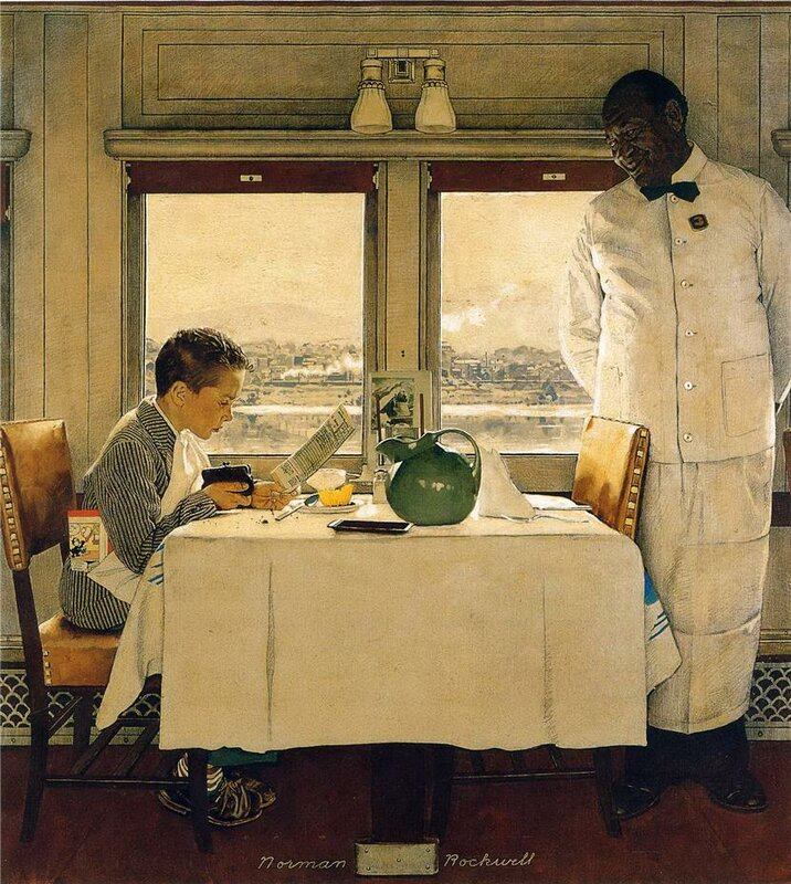 Norman Rockwell. Boy in a Dining Car,1946.