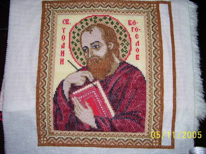 Вышита крестиком по готовой купленной схеме.  А потом украшена бисером.  Икона подарена Собору Святителя Николая в...