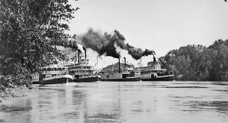 Left to righ - steamboats Claremore Queen, Pride of Paducah, Cherokee, Pride of the River, ca. 1935