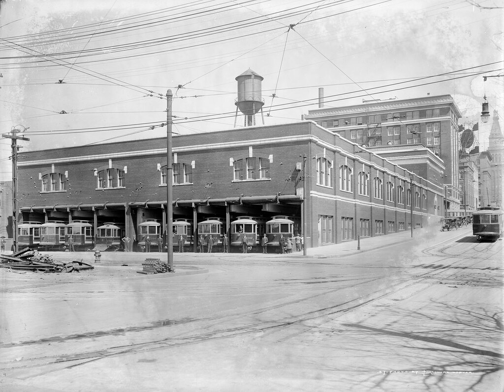 Denver Tramway Company building and garage, 14th and Arapahoe Streets, Denver, Colorado, between 1912 and 1920