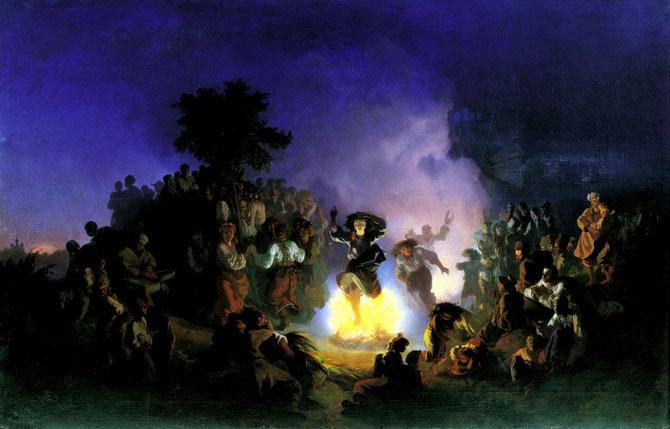 Праздник Ивана Купалы. Прыжки через огонь открытки фото рисунки картинки поздравления