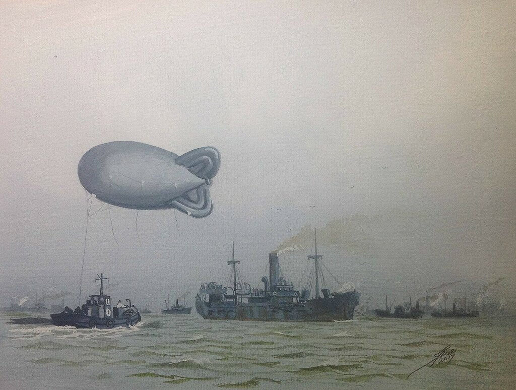 Delivering a Barrage Baloon to a coaster in the Thanes Estuary during WW2.