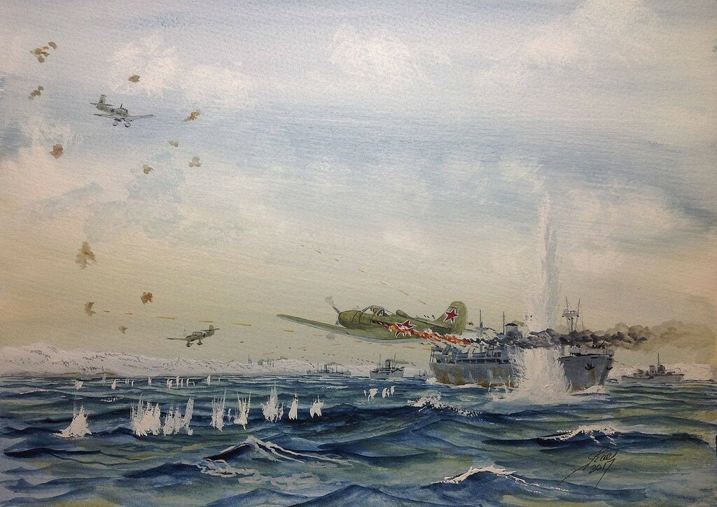 While under air attack from Stukas, the Liberty ship Cornielious Harnett mistakenly shot down one of the defending Russian Airocobras.