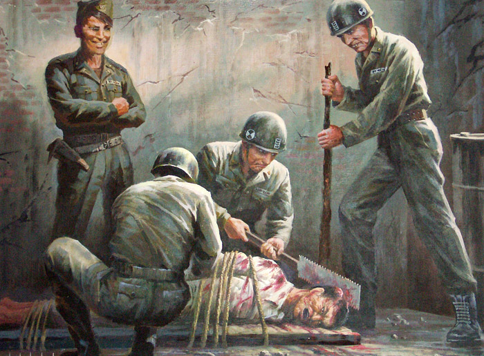 Корейские картины о военных преступлениях американского империализма (13 фото)