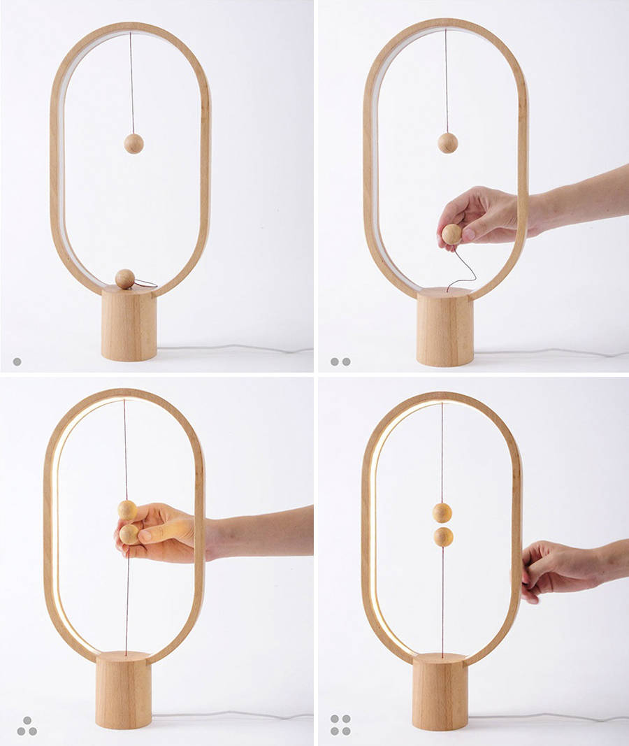 Stylish Wooden Lamp with Levitating Switch