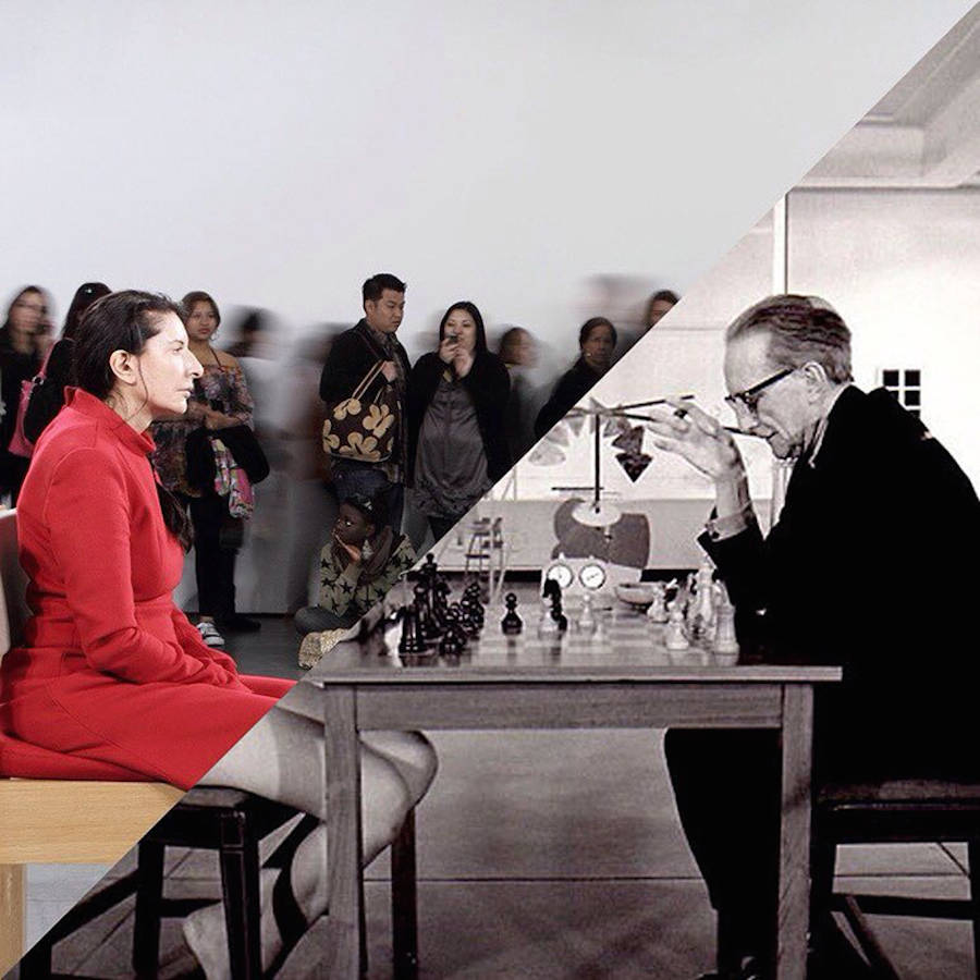 Marina Abramovic, the Artist is Present, MOMA, 2010? / ?Julian Wasser, Duchamp Playing Chess with a