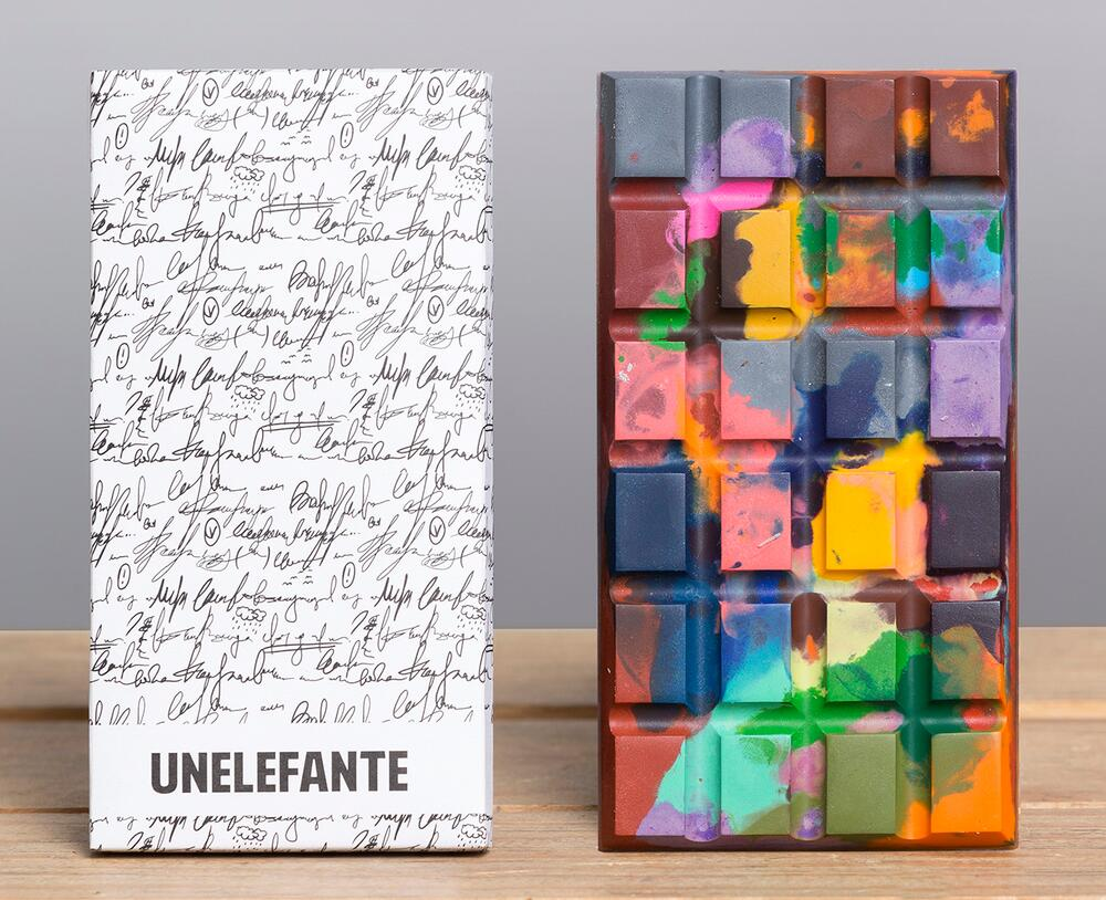 Edible Crayon and Paint-Splattered Chocolate Bars by Unelefante