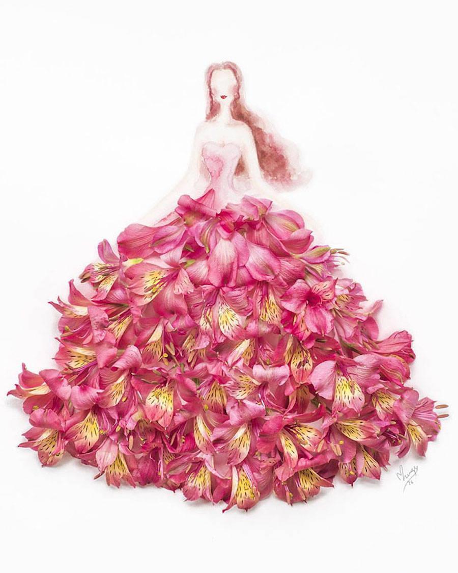 Elegant Drawings Of Girls Wearing Dresses Made Of Real Flower Petals (16 pics)