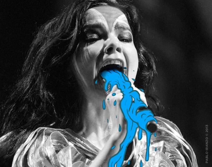 Artista desenha vomito em fotos de cantores no palco