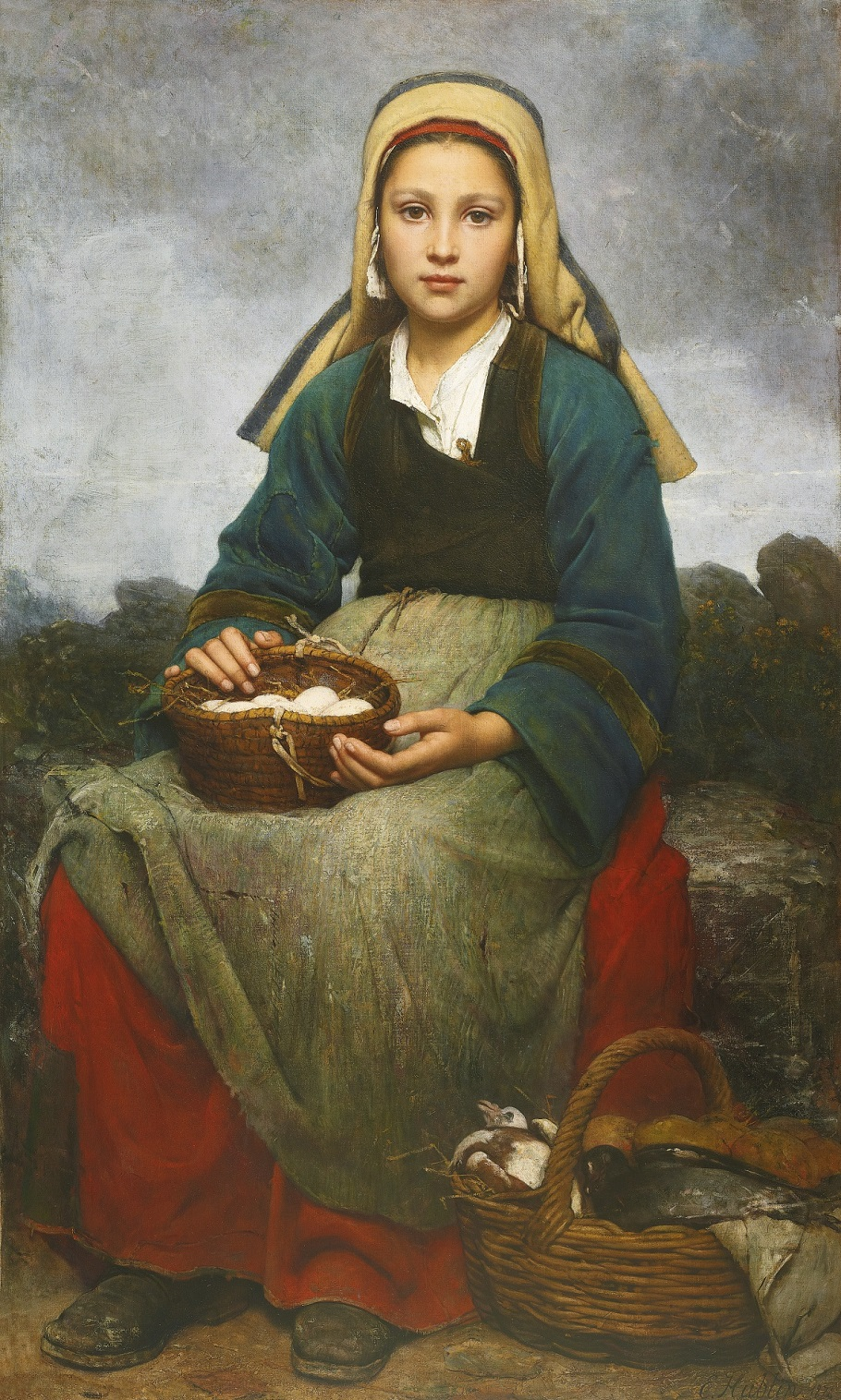 115N08989_6VQLC. A YOUNG GIRL HOLDING A BASKET OF EGGS, 1874