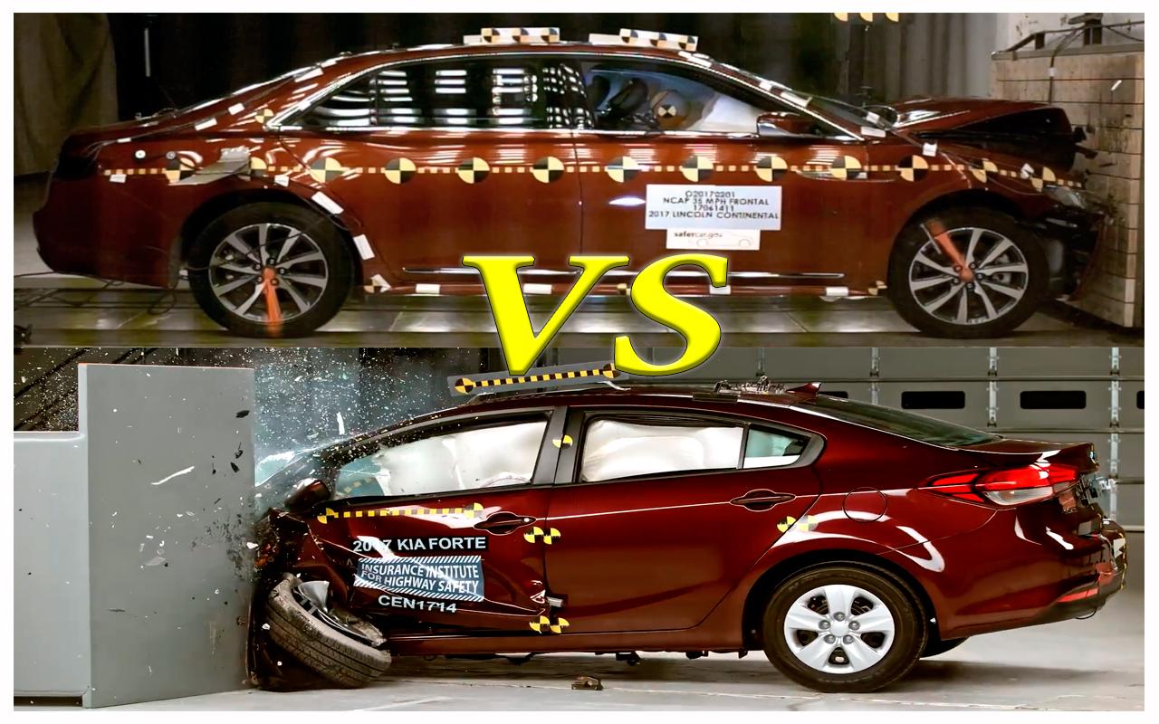 Краш Тест 2017 Lincoln Continental vs Kia Forte