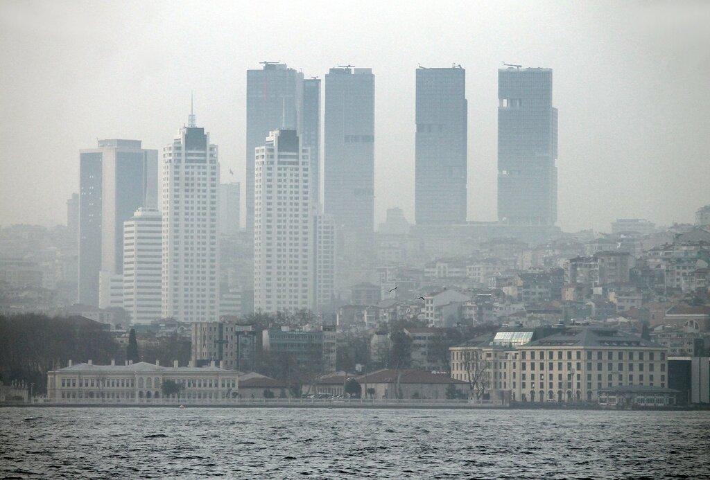 Istanbul, Uskudar. A misty evening over the Bosphorus