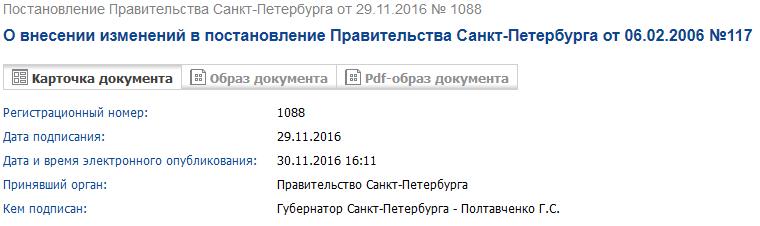 Постановление Правительства Санкт-Петербурга от 29.11.2016 № 1088