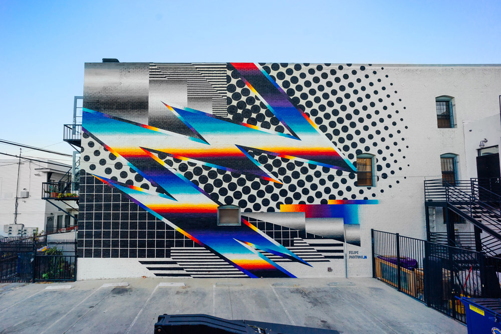 Expansive Black and White Patterns Mixed With Chrome Color Spectrums in Murals by Felipe Pantone