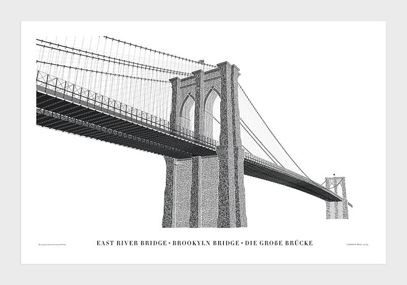 Cameron Moll's Typographic Letterpress Print of the Brooklyn Bridge