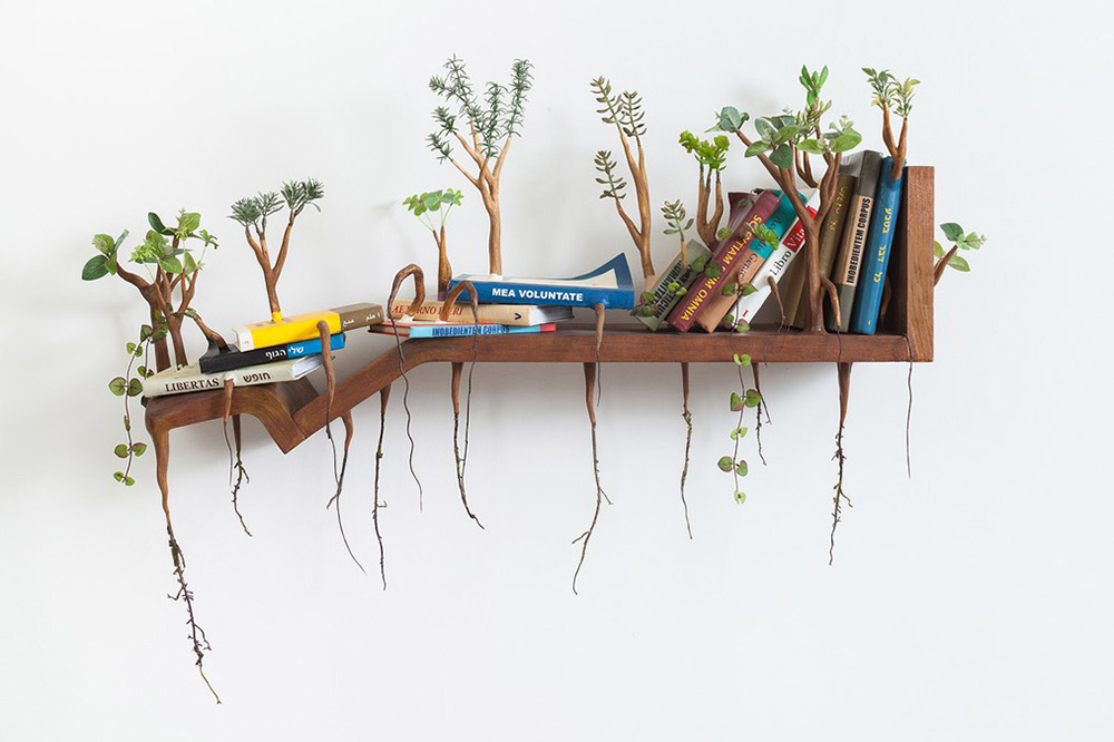 Household Objects Overgrown With Sprouted Wooden Limbs by Camille Kachani
