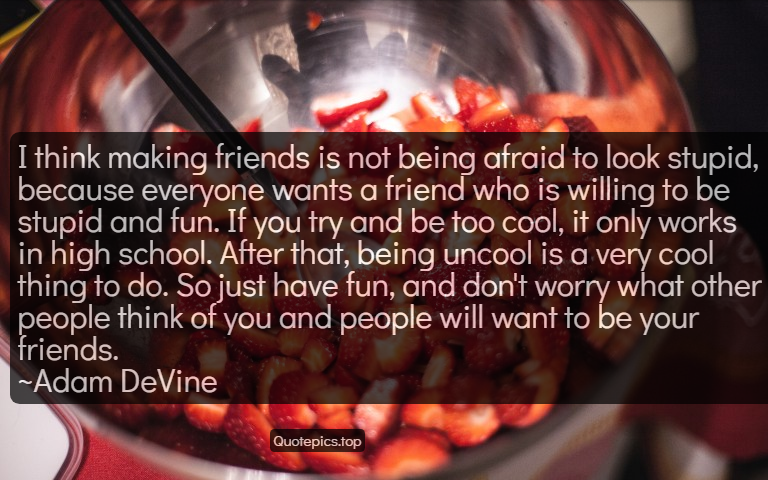 I think making friends is not being afraid to look stupid, because everyone wants a friend who is willing to be stupid and fun. If you try and be too cool, it only works in high school. After that, being uncool is a very cool thing to do. So just have fun, and don't worry what other people think of you and people will want to be your friends. ~Adam DeVine
