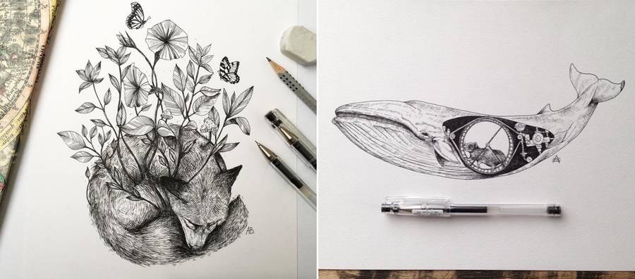 Poetic Surreal Black Ink Pen Illustrations (14 pics)