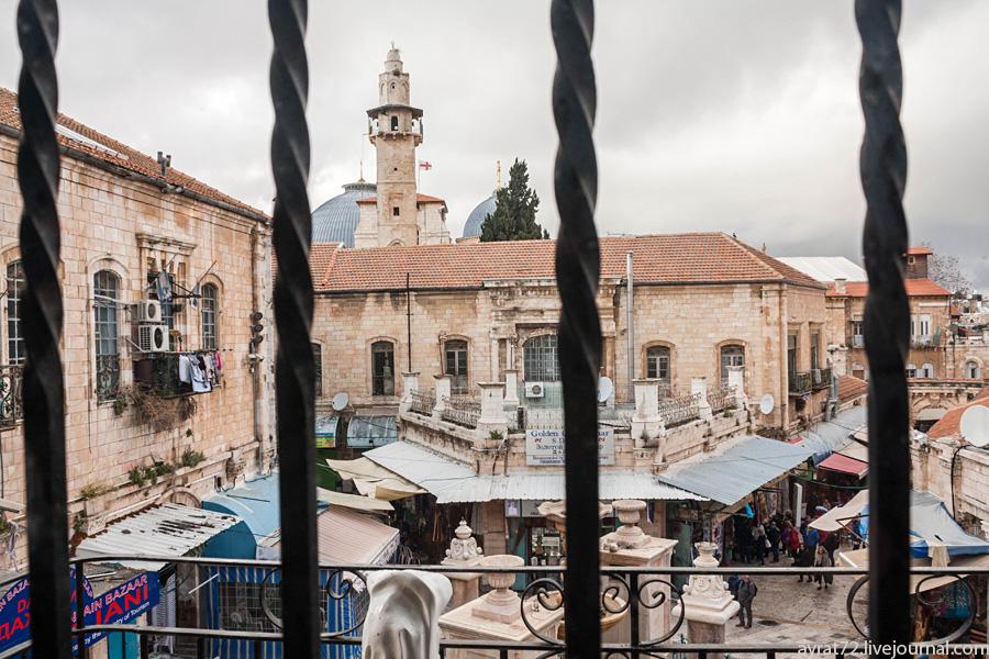Иерусалим сквозь окна ресторана Papa Andreas Яффских, время, ворот, сегодня, завтра, Муристан, только, качестве, террасу, Иерусалим, здесь, кстати, ресторан, христианском, название, первый, местах, будет, квартале, платной