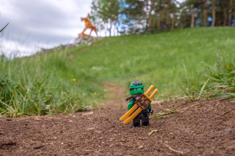 человечек lego, направляется по тропе к оранжевому лосю, разгуляевский парк