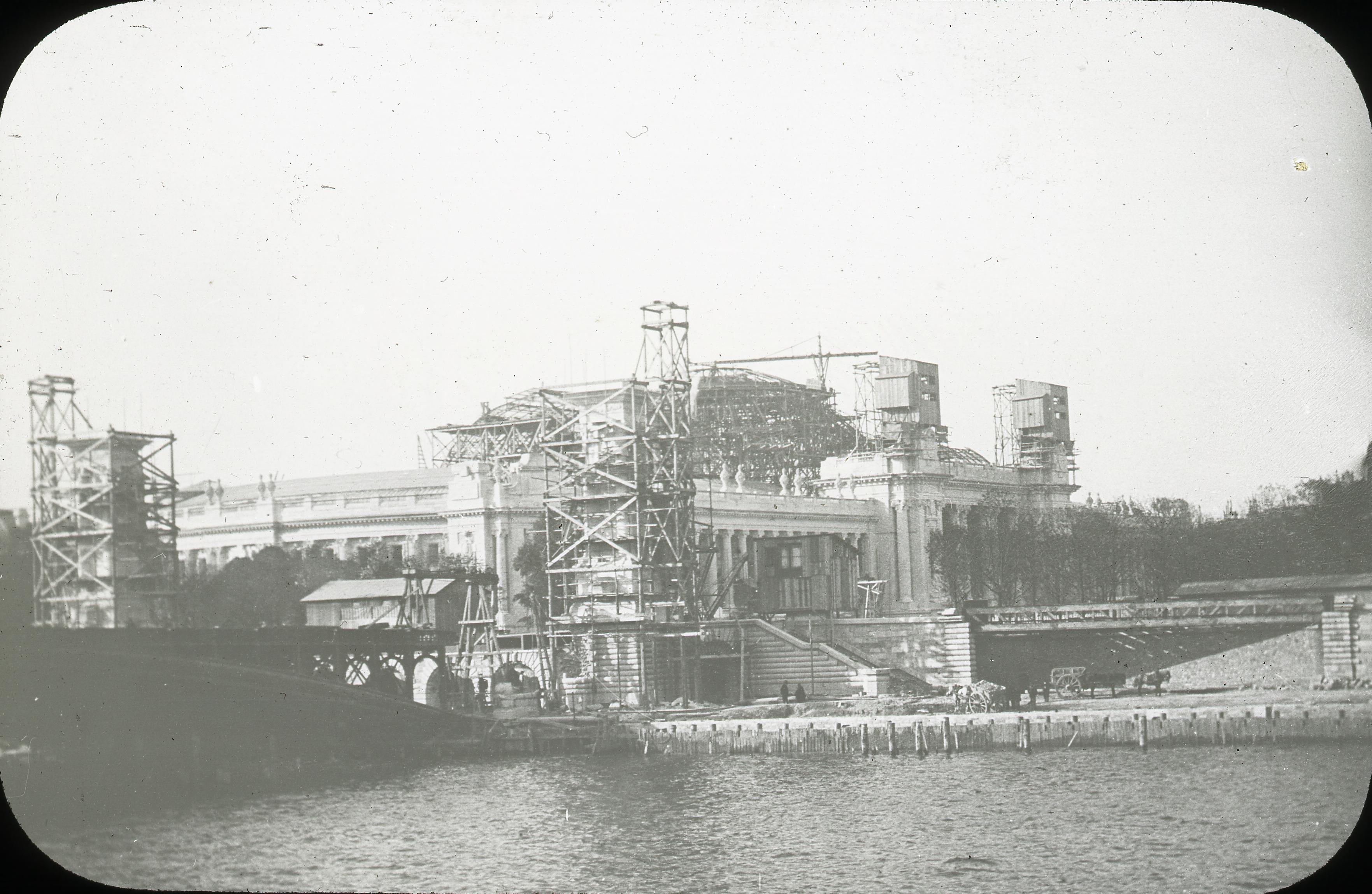 Строительство Малого дворца Изящных искусств и моста Александра III