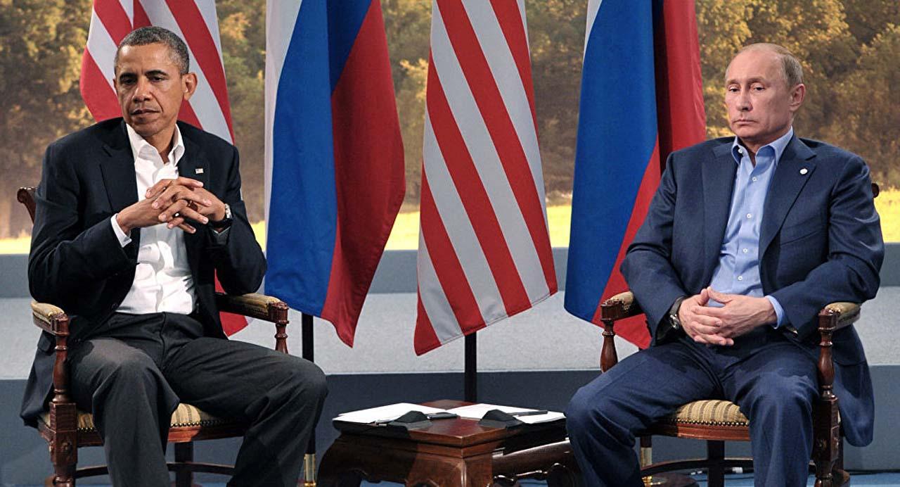 Барак Обама и Владимир Путин совершено не смеются. Встреча G8 в Северной Ирландии, 17 июня 2013