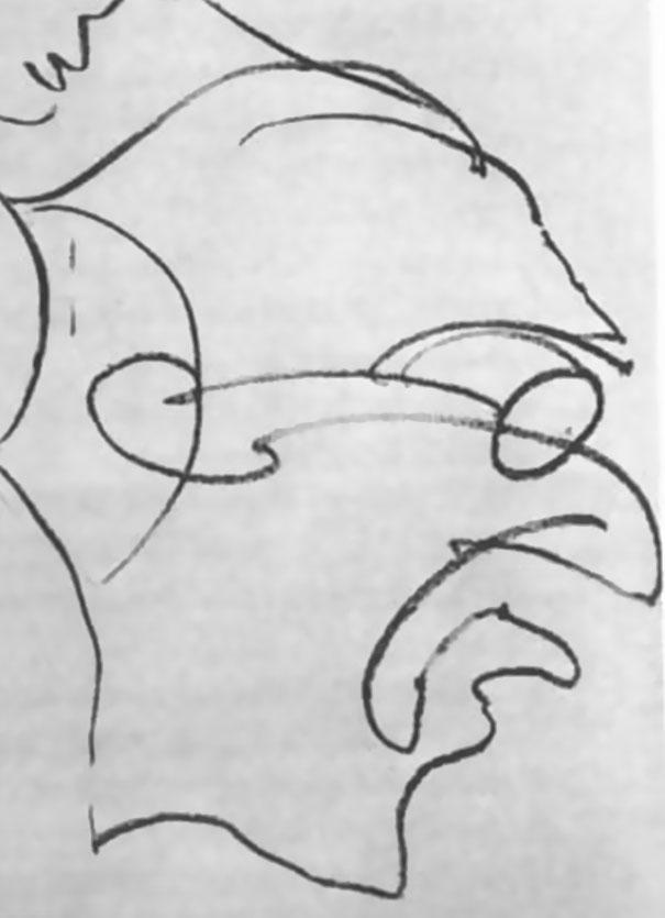 Пациент быстро переключается на другой рисунок. «Я сделаю портрет в одну… беспрерывную…