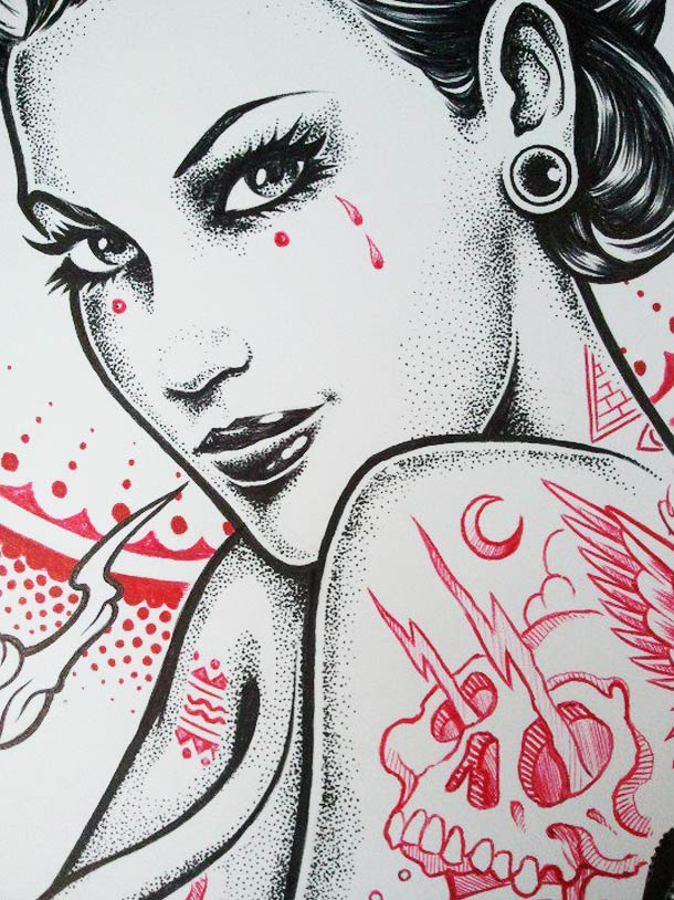Tatouages et Jolies Filles – 21 superbes illustrations par Adam Isaac Jackson (21 pics)