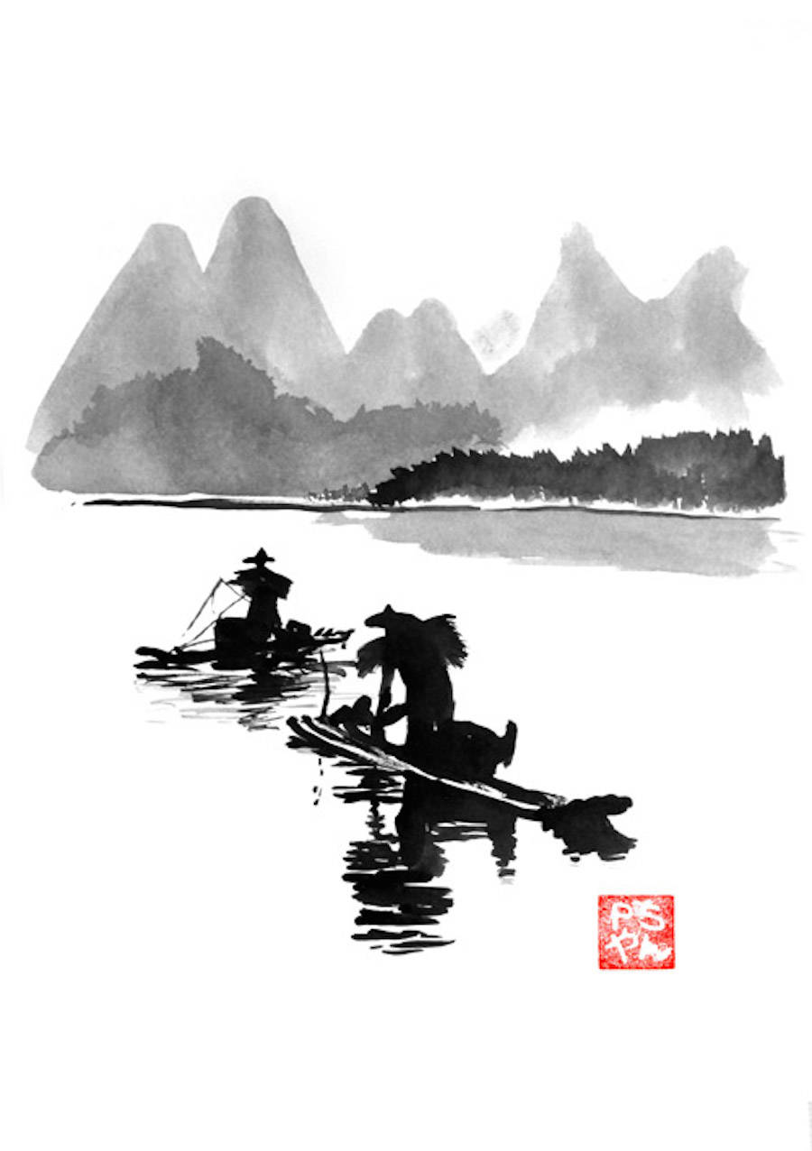 Superb Sumi-e Technique Paintings by Pechane