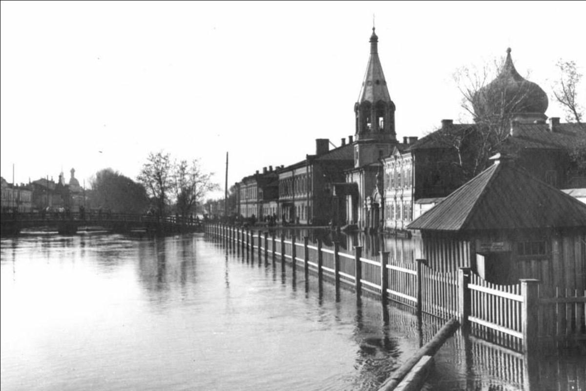 Наводнение 1926 года.Булак и ул. Правобулачная, Единоверческая Никольская церковь