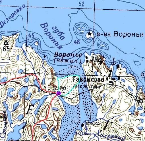 Карта части пути в районе устья р. Воронья
