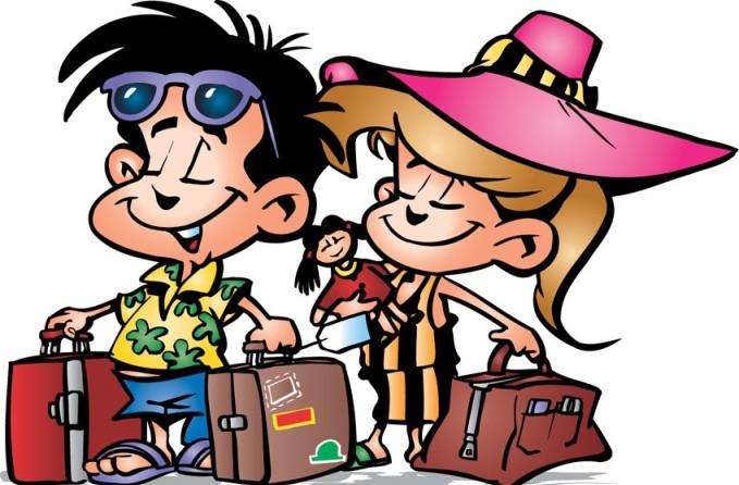 День туриста. Отдыхающие с чемоданами