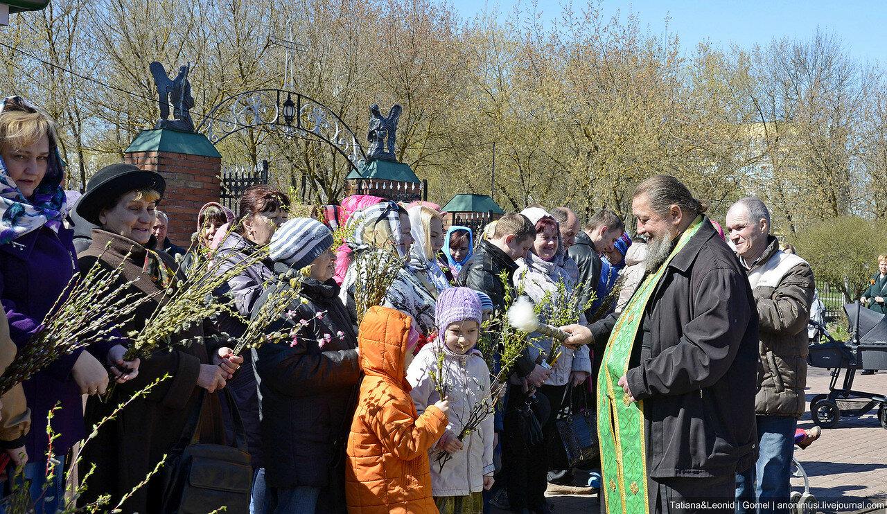 Вербное воскресенье в церкви архангела Михаила. Гомель